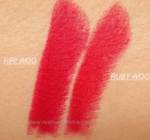 Mac Riri Woo/Mac Ruby woo swatches