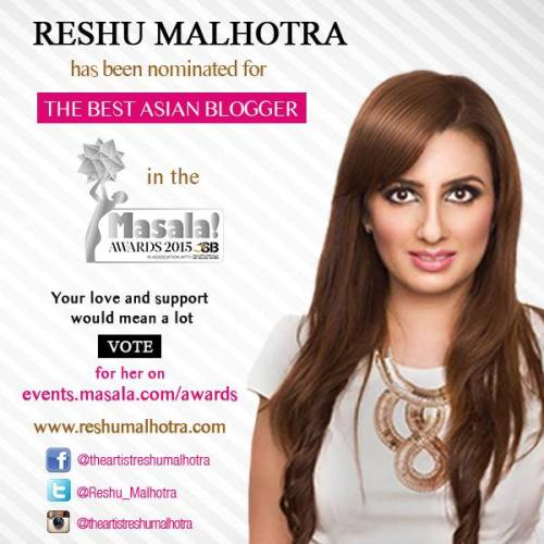 Reshu Malhotra nominated for Masala Awards 2015